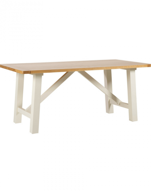 Padstow fixed top trestle dining table